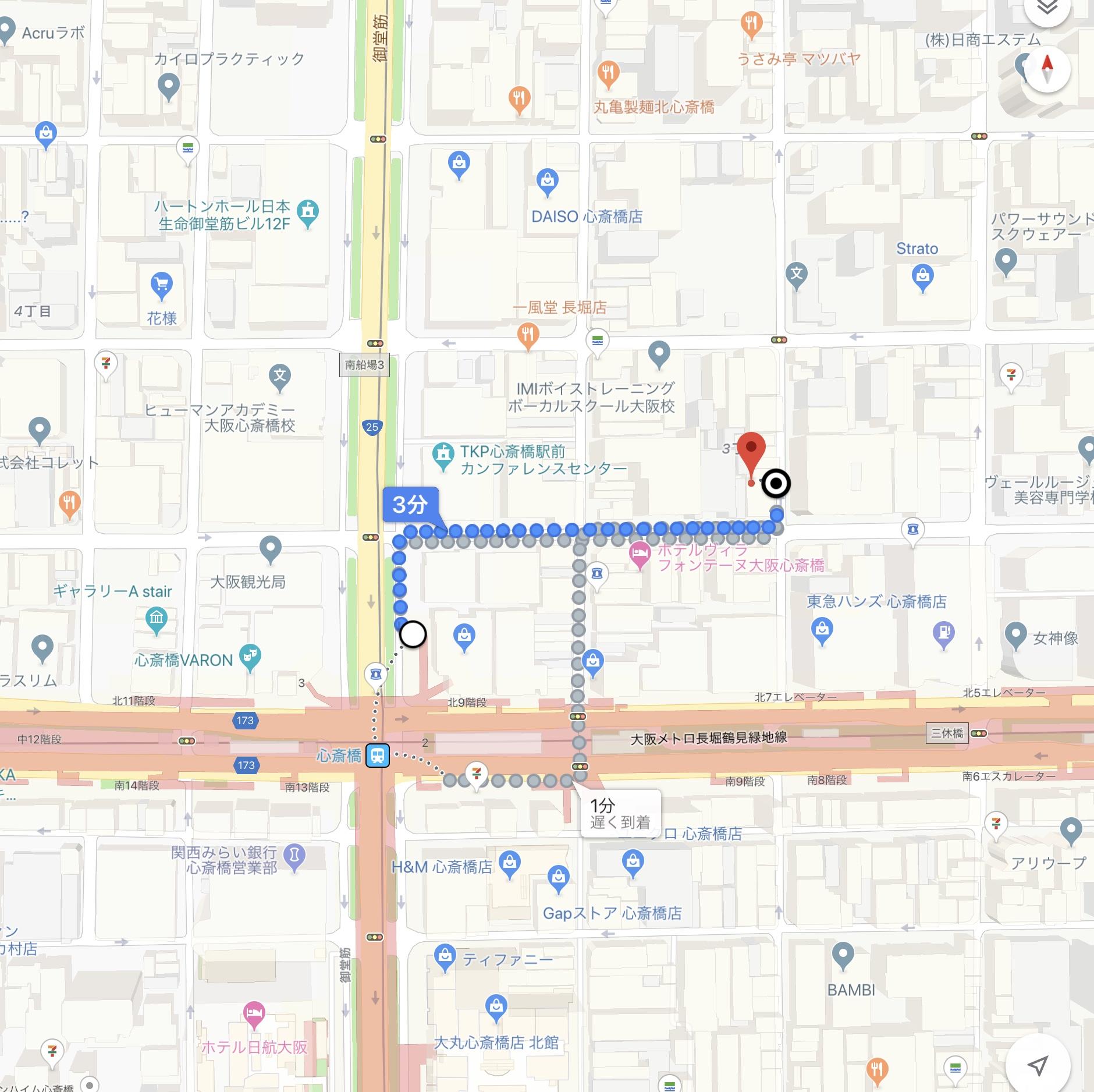 ブラデリス ニューヨーク心斎橋店への経路マップ